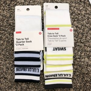 NWT LULULEMON TALE TO TELL SOCKS 2 PACK x 2 SIZE S